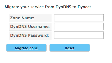 Migrate From DynDNS Form