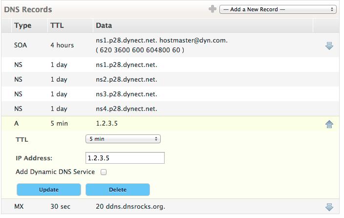 DNS Records Edit