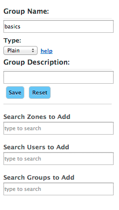 Left Column of edit or create groups form
