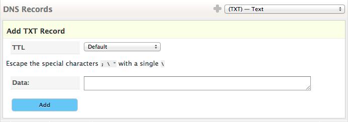 DKIM add record form