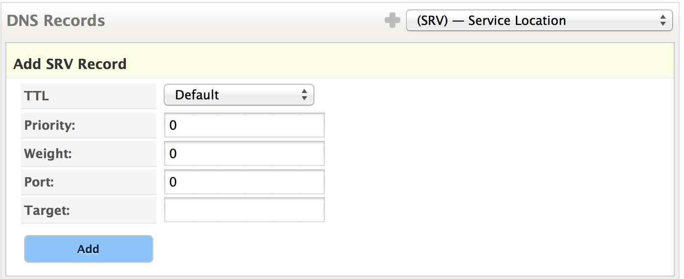Create SRV Record