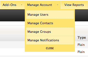 Manage account menu