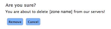 Confirm delete zone