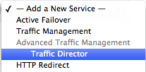Add New Traffic Director Service Menu