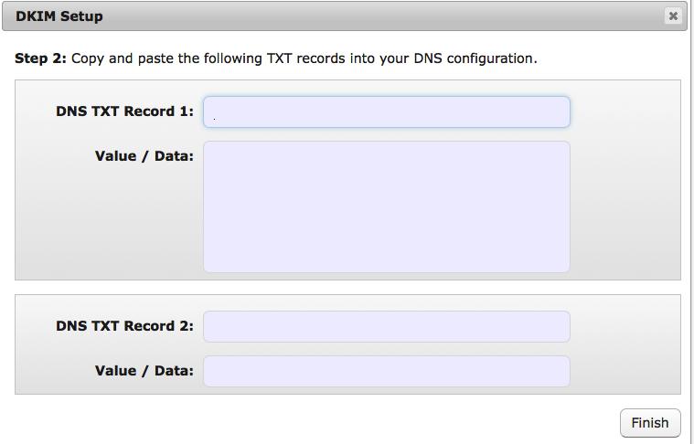 Email DKIM Setup Step 2