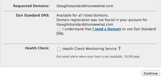 Standard DNS Confirmation Screen