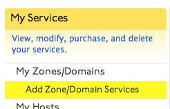Add Zone/Domain Services