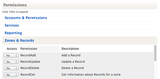 Zone and Record User Permissions