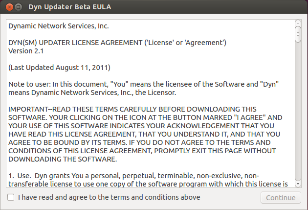 Figure 4: The End User License Agreement.