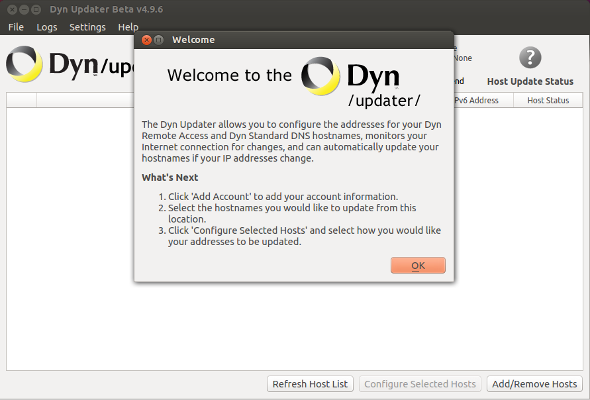 Figure 5: The welcome dialog.