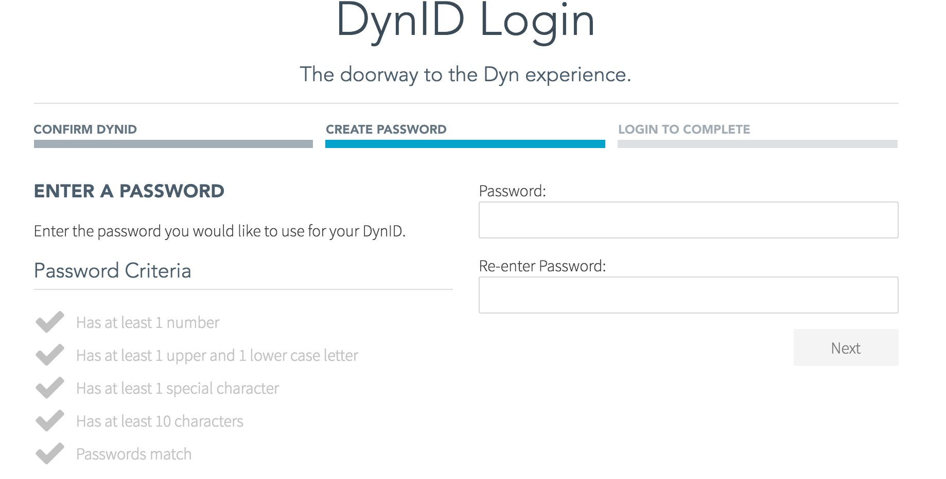Create new DynID Password