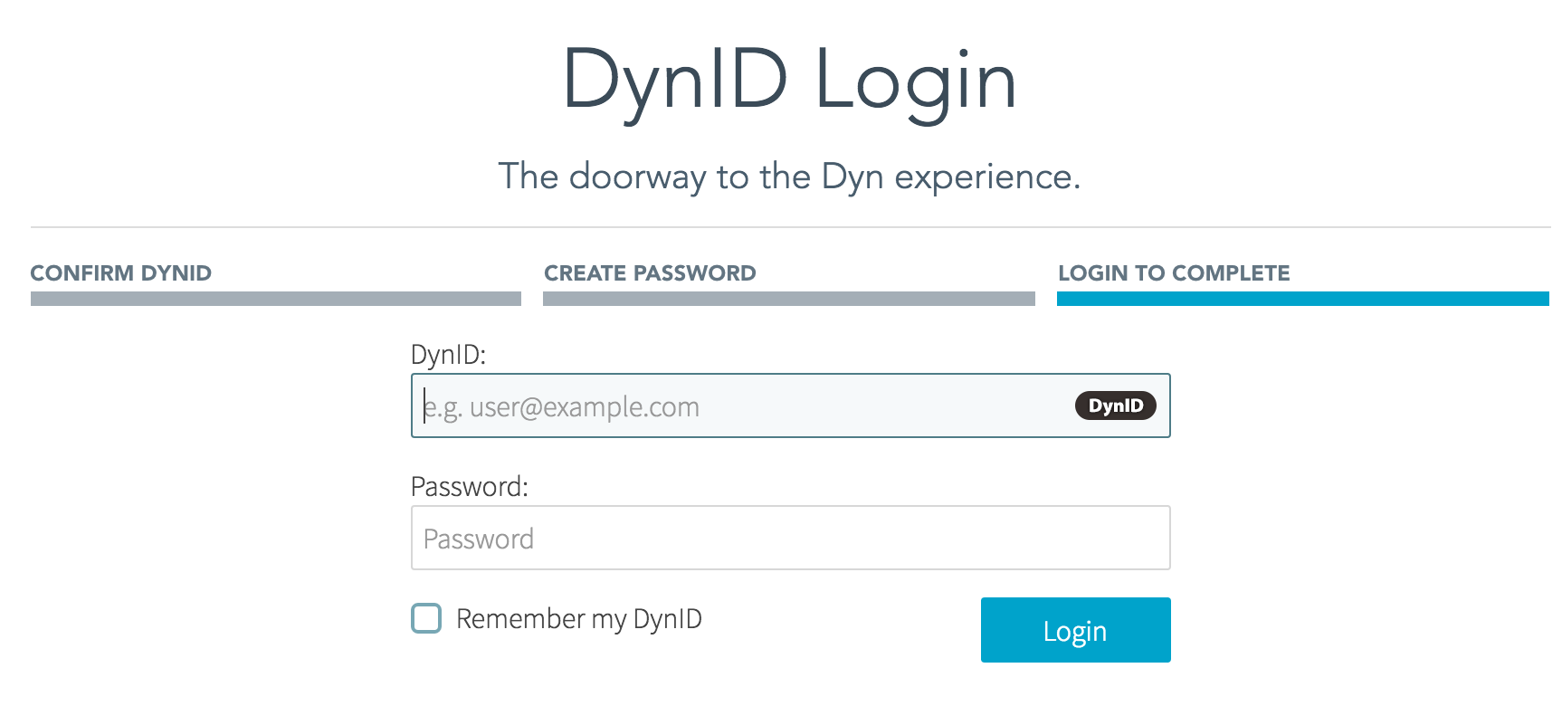 Login with new DynID password