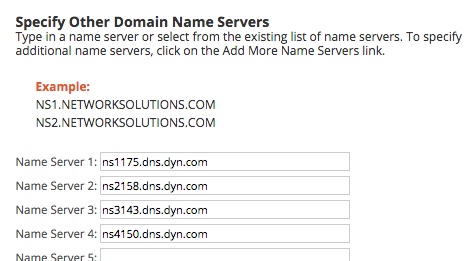 Delegating your domain with different registrars | Dyn Help