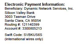 Electronic Payment Information