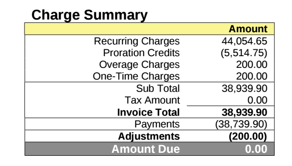 Charge Summary on Invoice