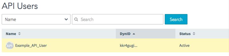 Select API User