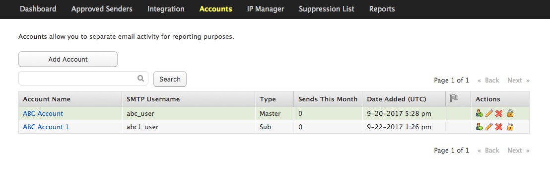 Email Delivery Account view